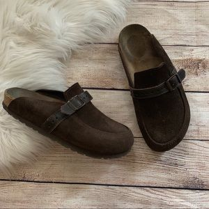 Birkenstock Suede Leather Strap Slip On Mules